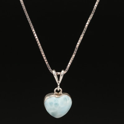 Sterling Larimar Heart Necklace