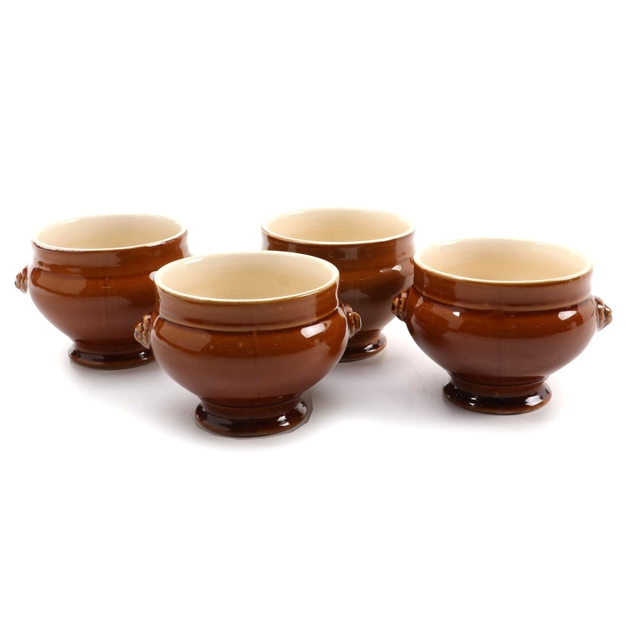 Emile Henry Ceramic Lion Head Footed Soup Bowls