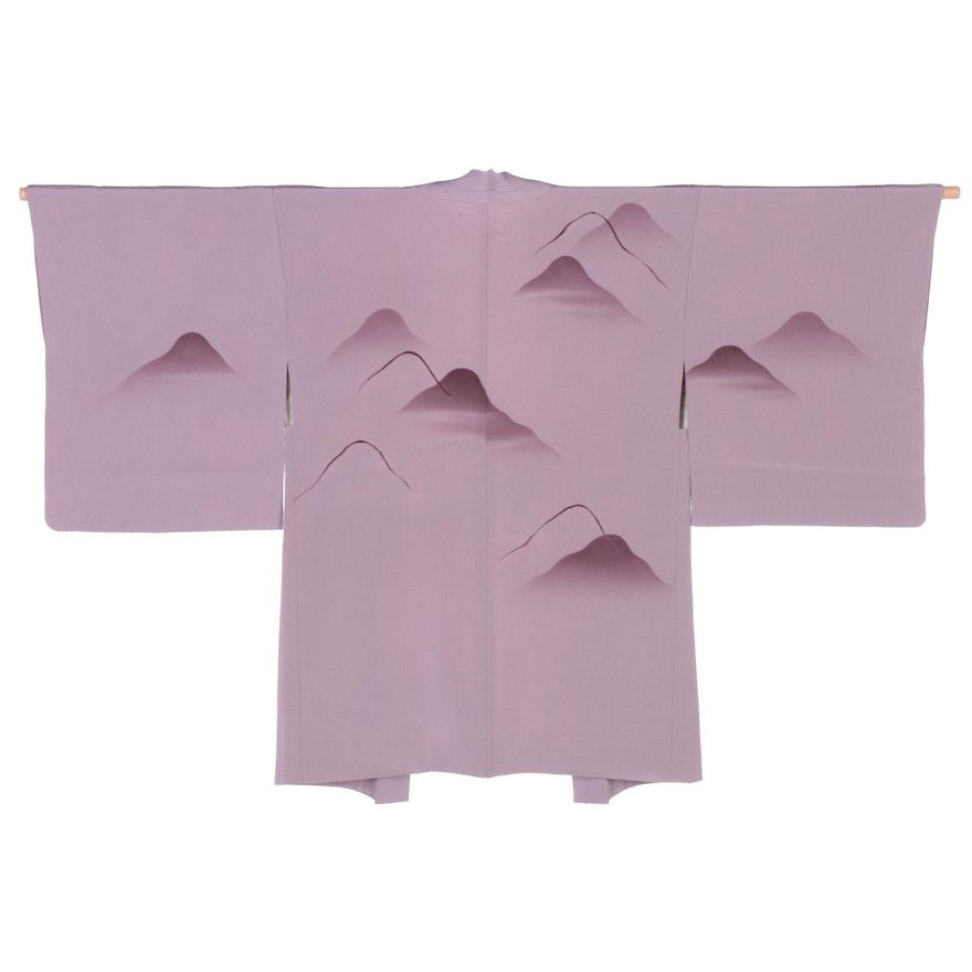 Lavender Mountain Embroidered Chirimen Style Silk Haori with Himo, Shōwa Period