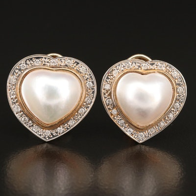 14K Mabé Pearl and Diamond Heart Earrings