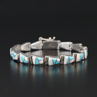 Southwestern Style Sterling Opal and Turquoise Mosaic Inlay Bracelet