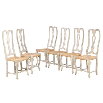 Six Italian Rococo Style Polychromed Side Chairs, 20th Century