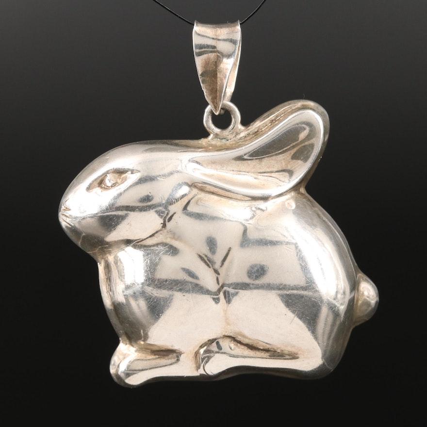 Vintage Sterling Puffed Rabbit Pendant