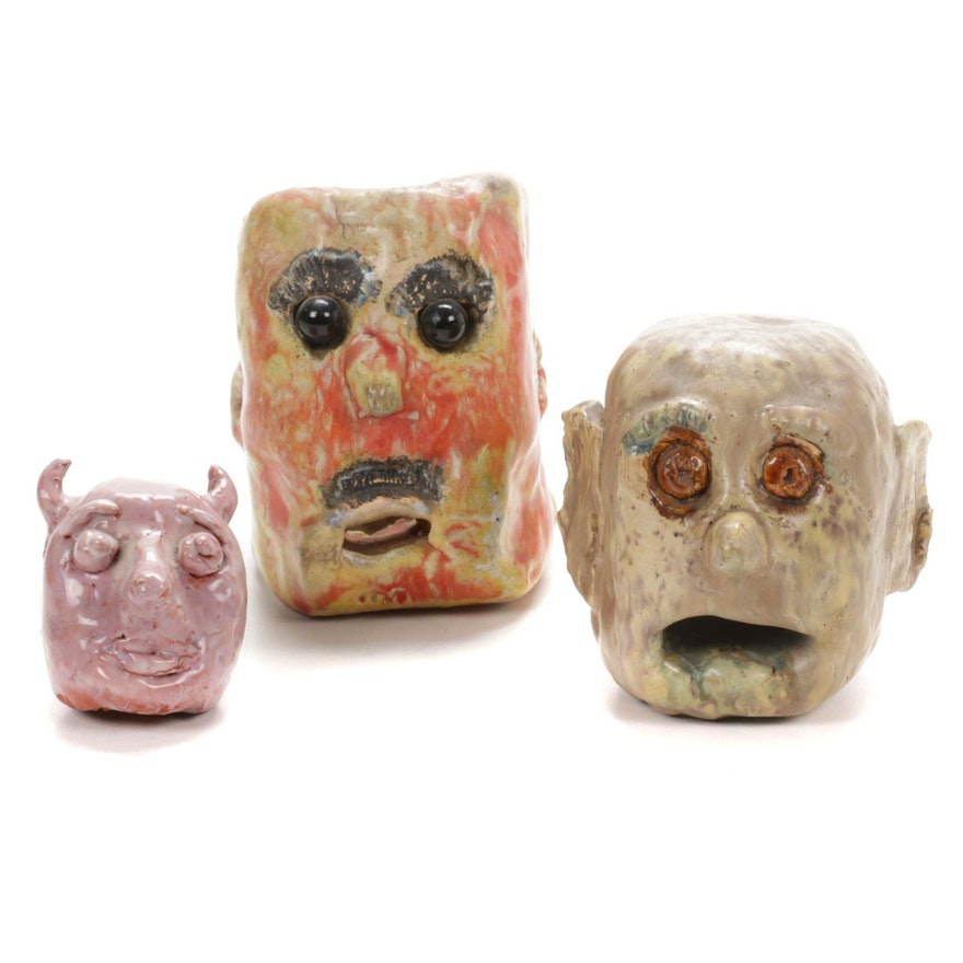 Glazes Ceramic Folk Art Face Sculptures