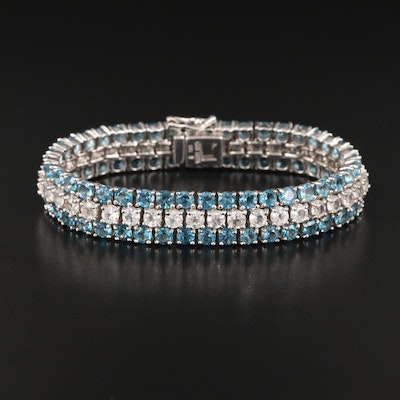Sterling Topaz Three Row Bracelet