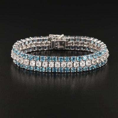 Sterling Topaz Three Row Bracelet