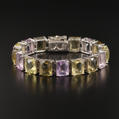 Sterling Amethyst and Citrine Bracelet Including Extra Links