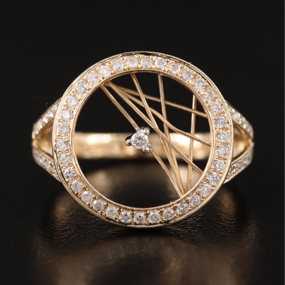 14K Diamond Crossed Wired Openwork Ring