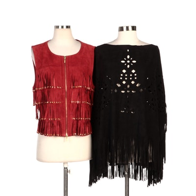 Berek Red Suede Embellished Fringed Vest and Unmarked Black Cutwork Poncho