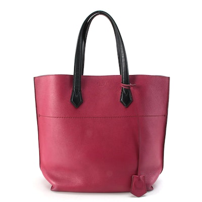 Fendi All In Tote Bag in Dark Fuchsia Grained Leather with Black Leather Trim
