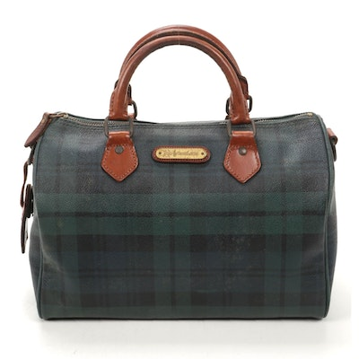 Polo Ralph Lauren Boston Bag in Blackwatch Plaid Coated Canvas with Leather Trim