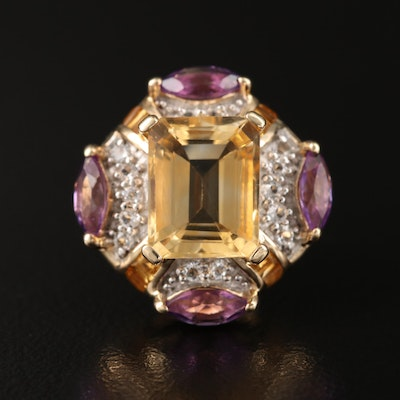 Sterling Citrine, Amethyst and White Spinel Pendant