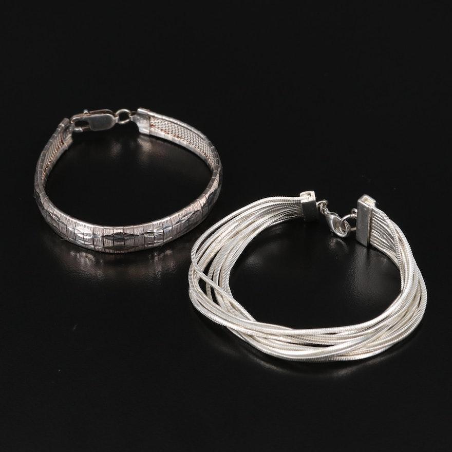 Sterling Diamond Cut Omega Chain Bracelet with Multi-Strand Snake Chain Bracelet