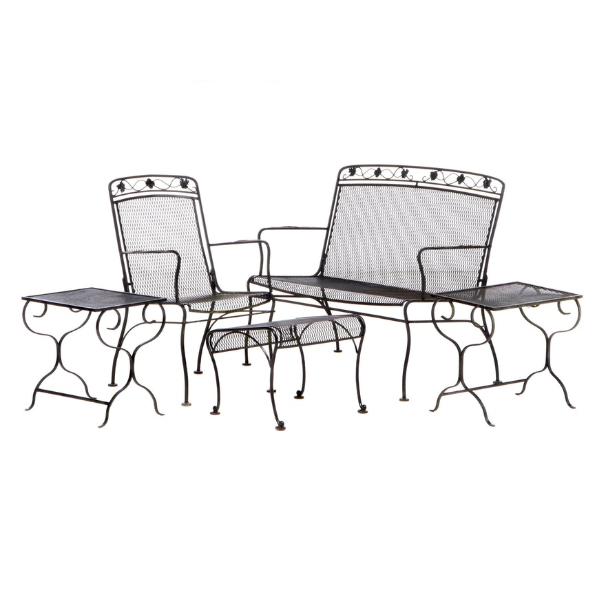 Black Painted Wire Mesh Patio Settee, Armchair, Footstool, and Side Tables