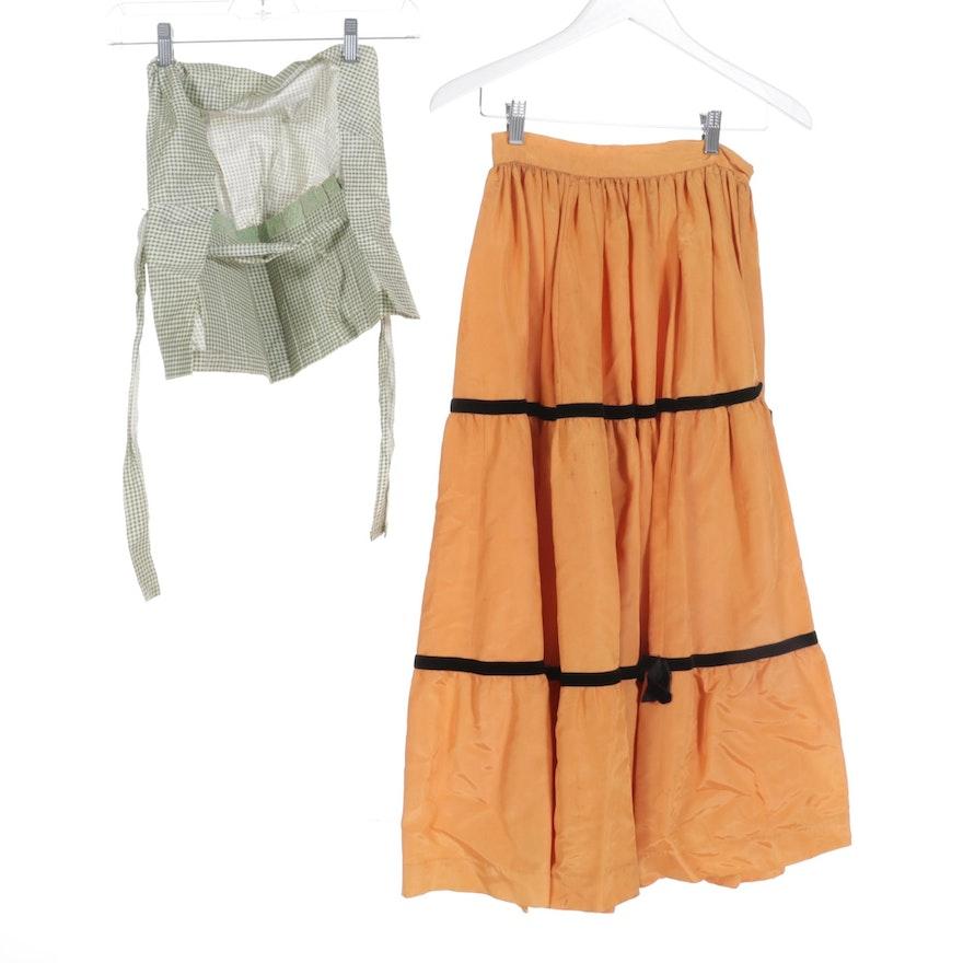 Pleated Taffeta Skirt with Contrasting Velvet Bands and Gingham Bonnet