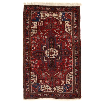 4'7 x 7'9 Hand-Knotted Persian Heriz Wool Area Rug