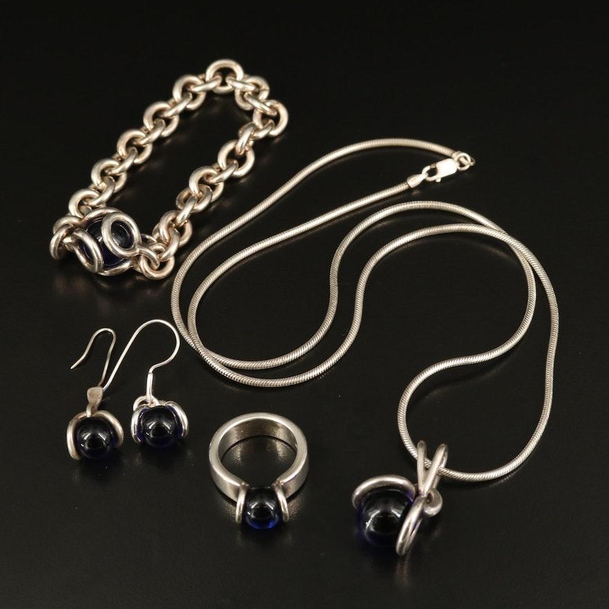 Sterling Glass Jewelry Set