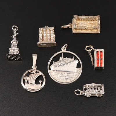 Sterling and 950 Silver Travel Themed Charms