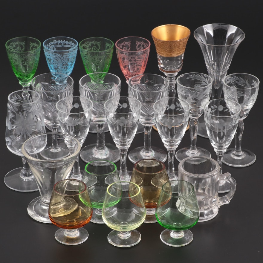 Foliate Etched Cordial Glasses with Other Barware, Mid-20th Century