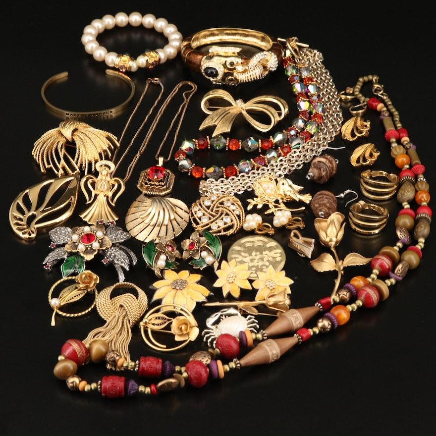 Costume Jewelry Including Enamel Elephant Bangle