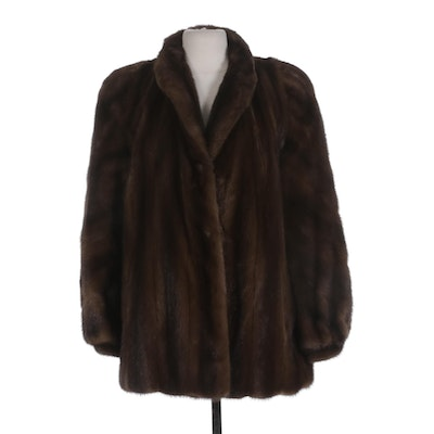Anne Klein Moon Dusk Brown Ranch Mink Fur Coat with Banded Cuffs from Montaldo's