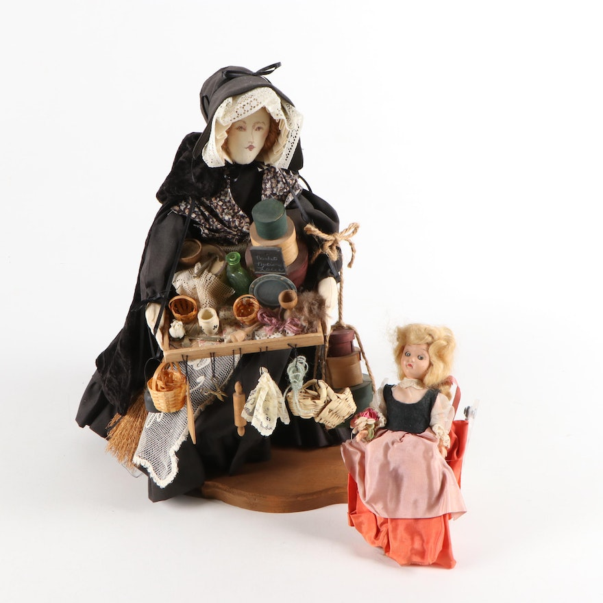"""Handmade Cloth Indiana """"Peddler"""" Doll and Jointed Doll with Lace Gown"""