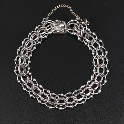 Vintage Sterling Silver Fancy Link Bracelet