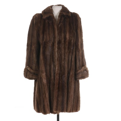 Marten Fur Swing Coat with Tacked Cuffs from Joseph Bruno