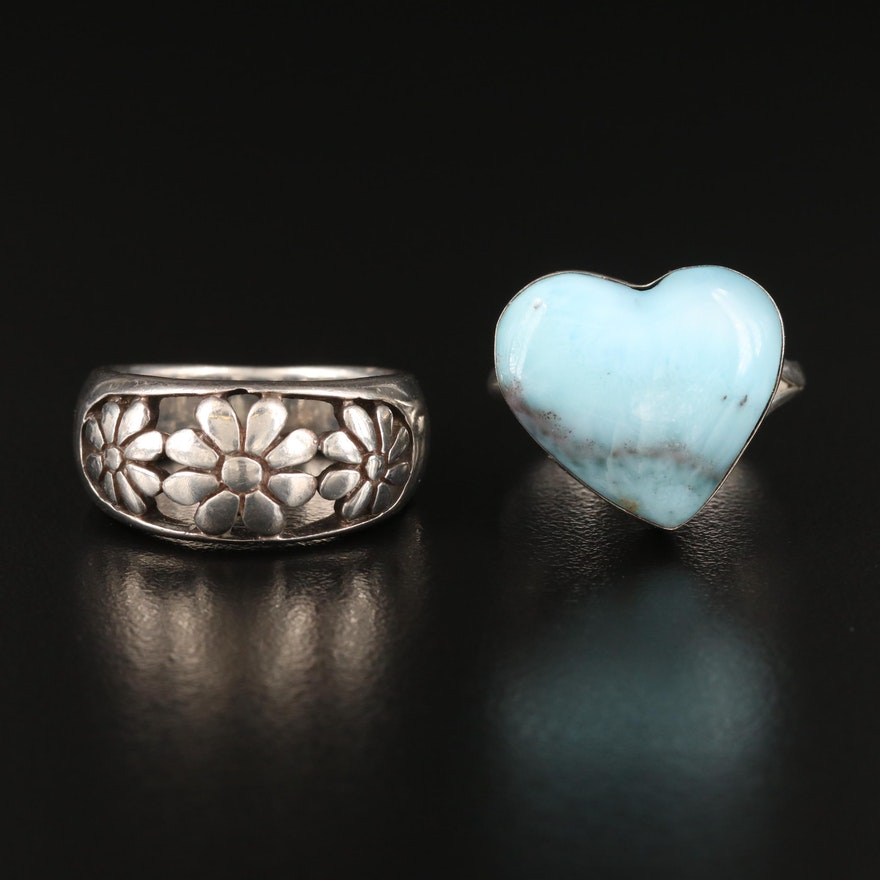 Sterling Larimar Heart Ring with Flower Band