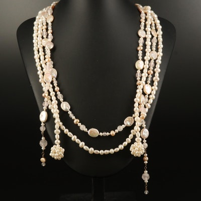 Pearl and Rose Quartz Lariat Necklaces