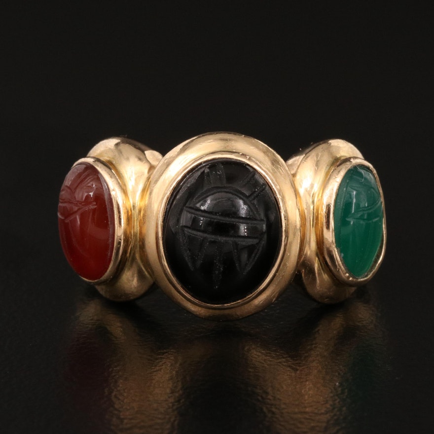 14K Agate, Black Onyx and Carnelian Scarab Ring