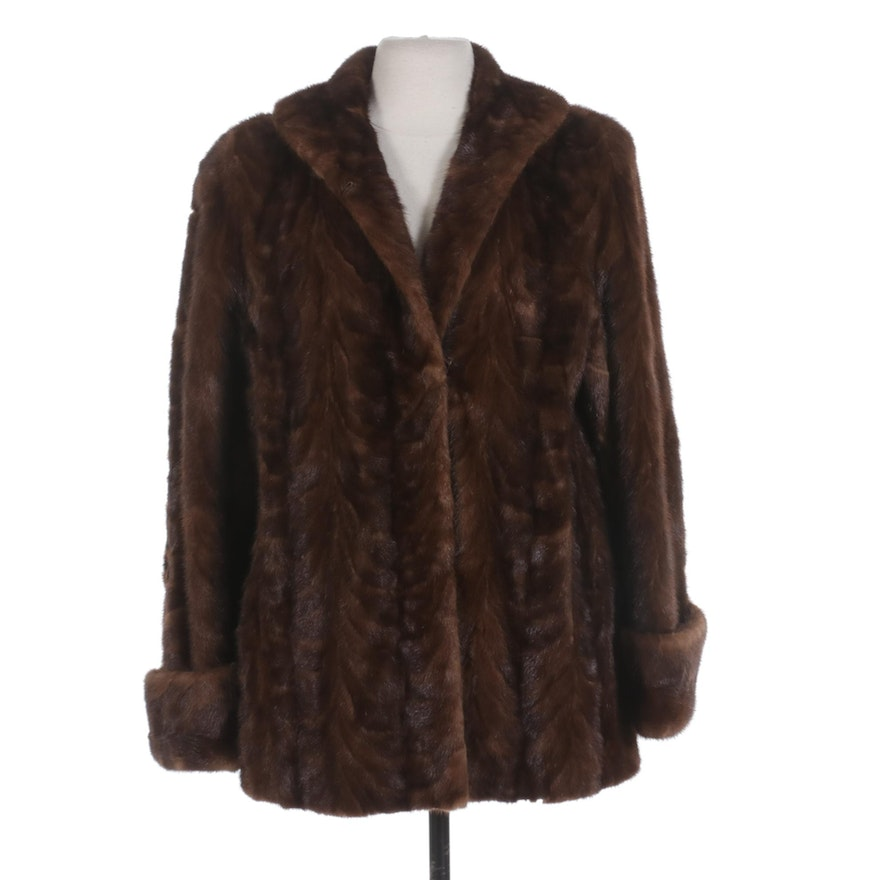 Mahogany Mink Paw Fur Coat with Turned Back Cuffs from Joseph Bruno