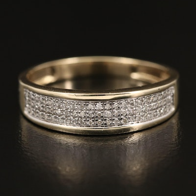 10K Two-Tone Diamond Multi-Row Band