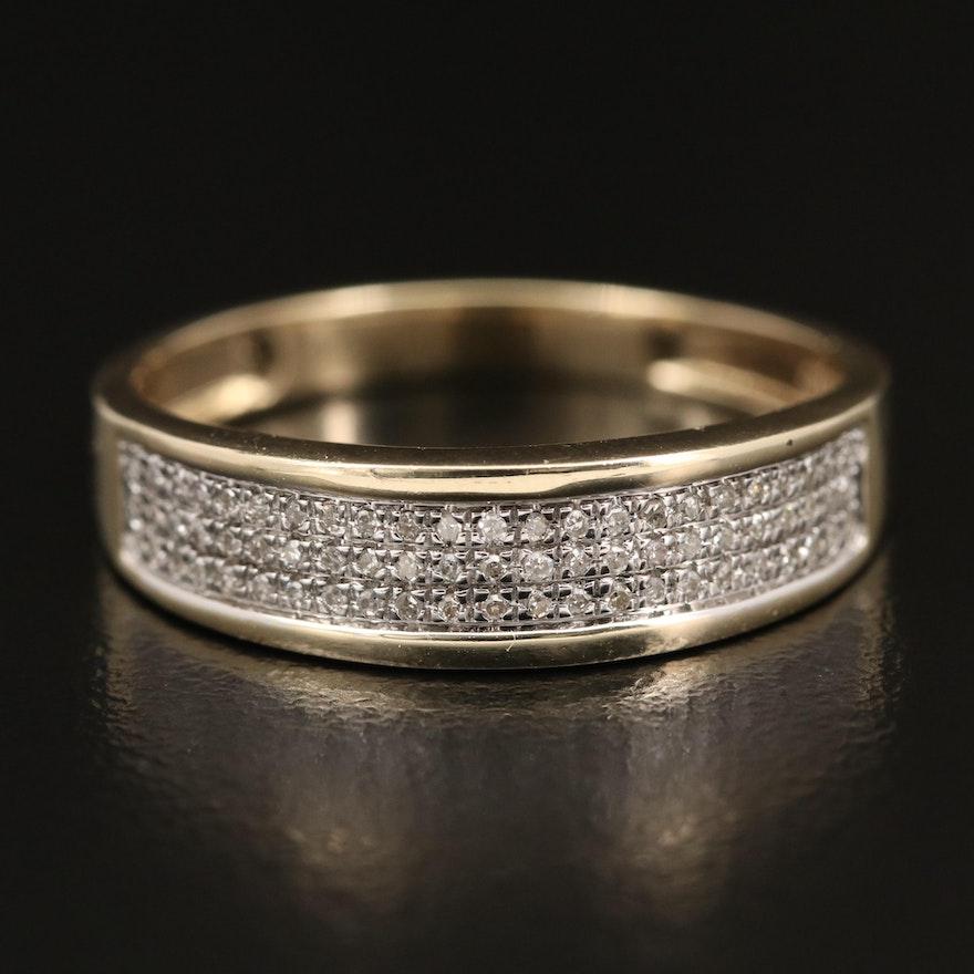 10K Two-Tone Diamond Multi-Row Band