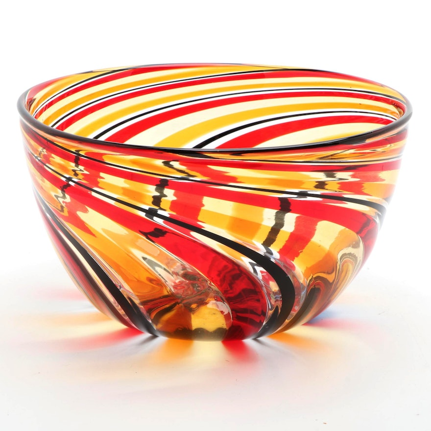 Angelo Ballarin Murano Art Glass Blown Red, Black and Yellow Spiral Bowl