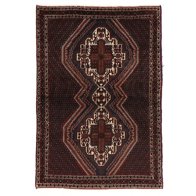 4'9 x 7' Hand-Knotted Persian Afshar Area Rug