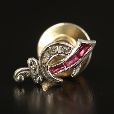 Vintage Platinum Shriner Pin with Ruby and Diamond
