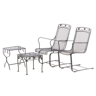 Pair of Black Painted Wire Mesh Patio Rockers with Two Side Tables