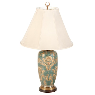 Frederick Cooper Painted Ceramic Urn Shape Table Lamp, Late 20th Century