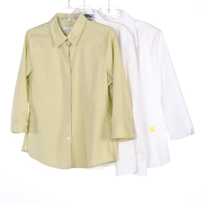 Foxcroft Button-Down Shirts and Bedford Fair Short Sleeve Lapel Jacket
