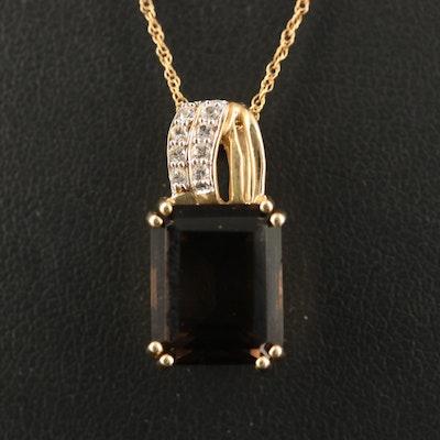 10K Smoky Quartz and Sapphire Necklace