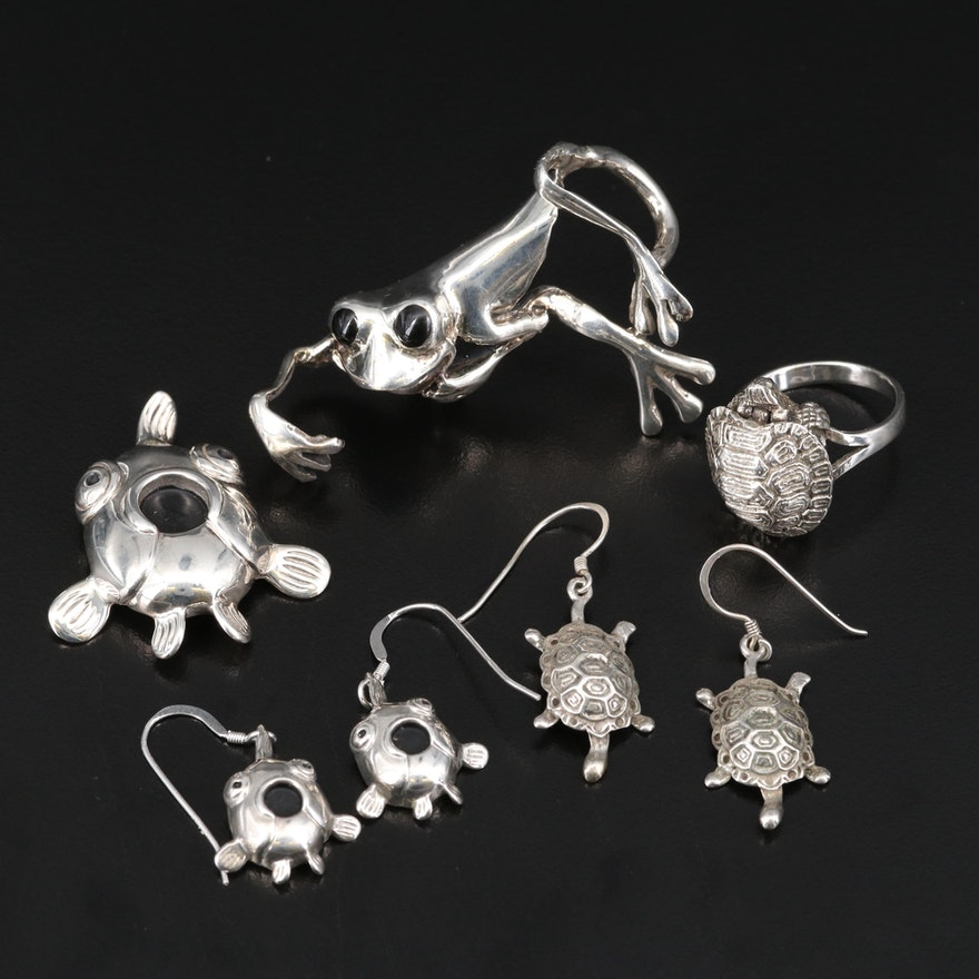 Sterling Articulated Turtle Ring with Frog, Turtle and Fish Jewelry