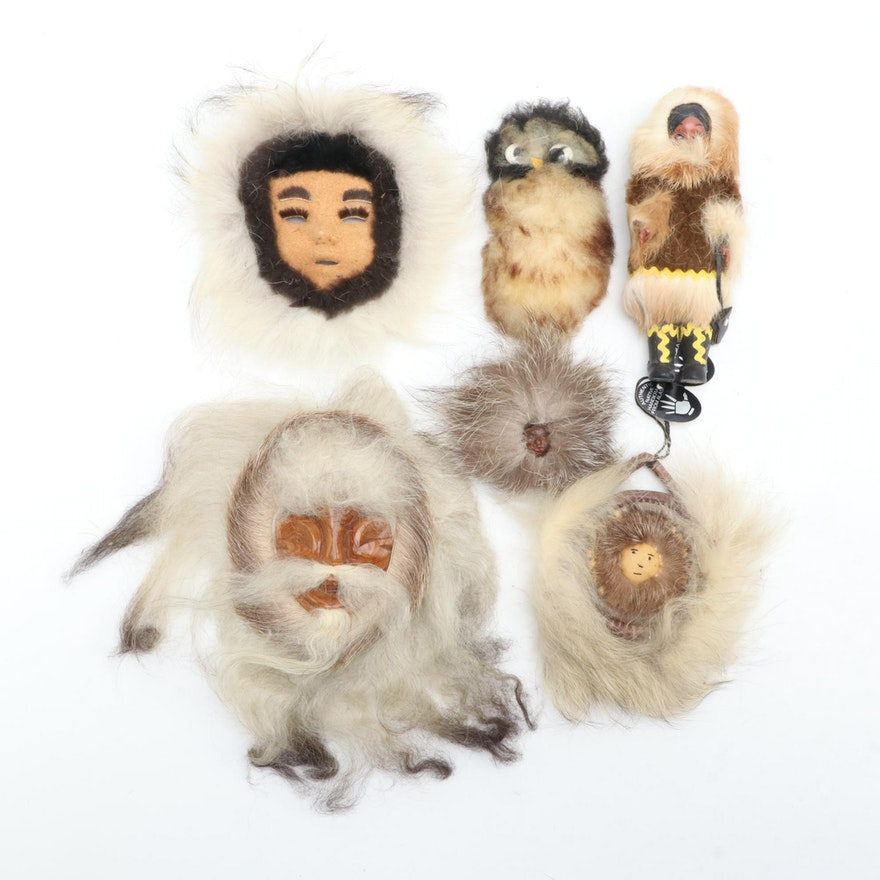 "Native Alaskan Handcrafted Wall Décor Including ""Reindeer Iceland Sheep Doll"""