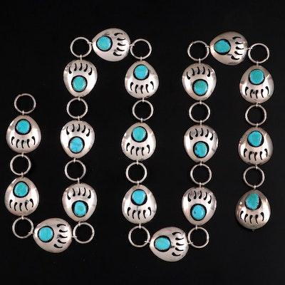 Ervin Redhorse Navajo Diné Sterling Silver and Turquoise Concho Link Belt