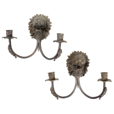 Pair of Brass Lion Head Two Light Candle Sconces, Mid to Late 20th Century