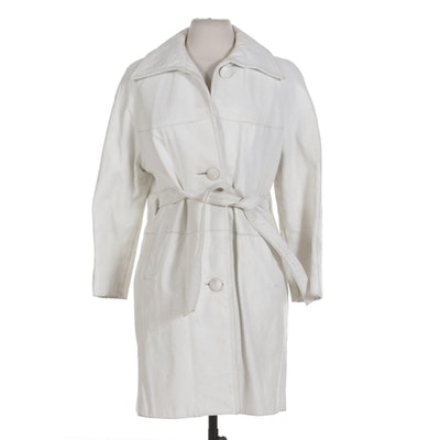 White Leather Button-Front Coat with Tie Belt