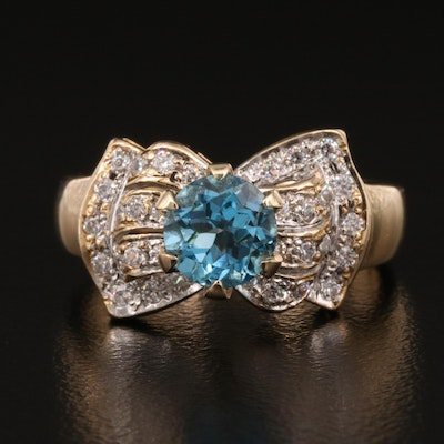 14K Topaz and Cubic Zirconia Bow Ring