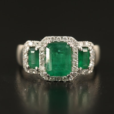 EFFY 14K Emerald and Diamond Halo Ring with 1.36 CT Center