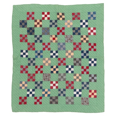 "Handmade ""Nine Patch"" Checkerboard Pieced Quilt, Early 20th Century"