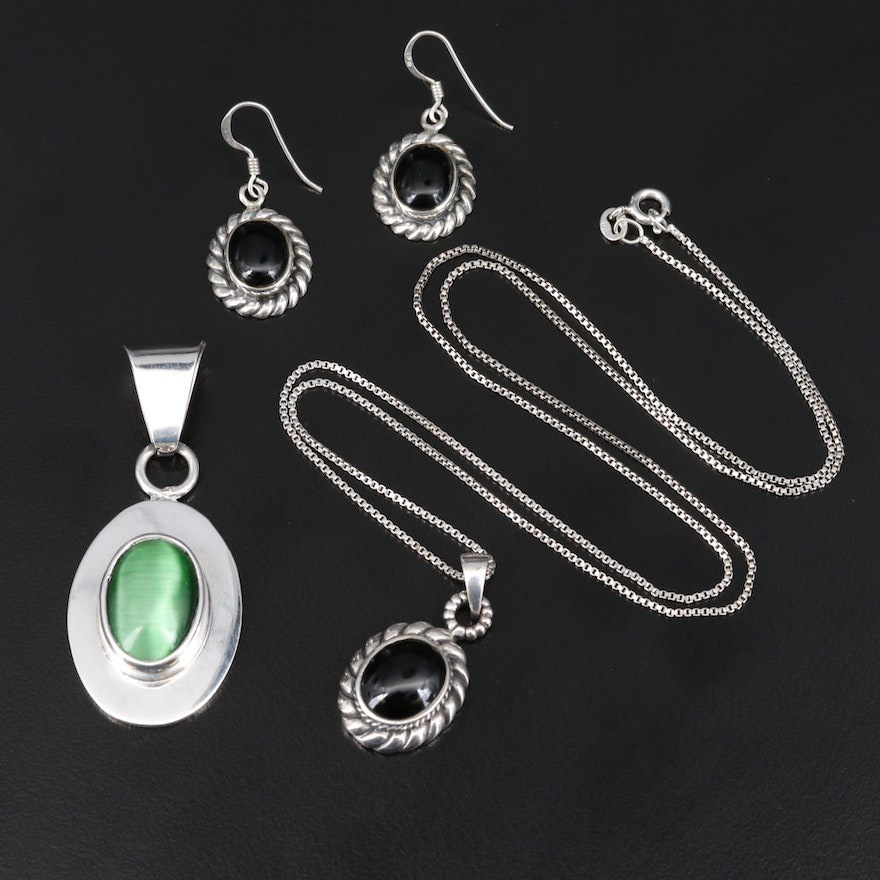 Sterling Silver Jewelry Including Fiber Optic Glass and Black Onyx